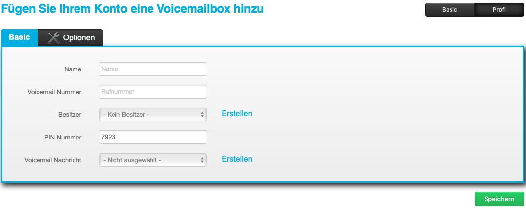 Voicemail anlegen